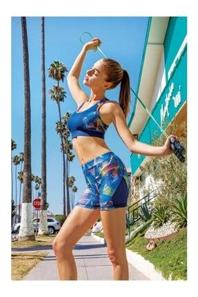 Yeni İnci Kadın Lacivert Yoga Fıtness Pilates Koşu Sporcu Tayt Alt Üst Takım