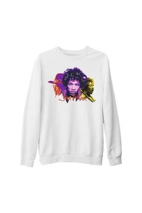 Lord Unisex Beyaz Jimi Hendrix Kalın Sweatshirt