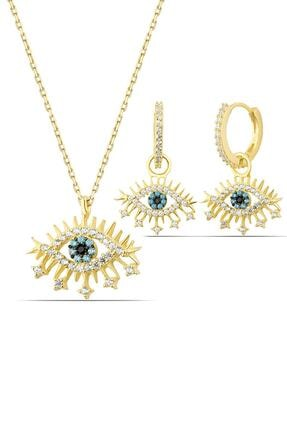 Herisson Kadın 925 Ayar Gümüş Zirkon Mavi Beyaz Taşlı Kirpikli Göz Set