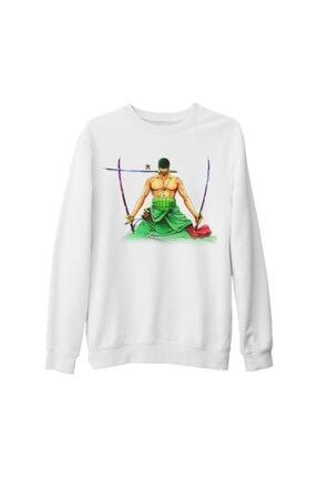 Lord Unisex Beyaz One Piece Roronoa Zoro Kılıç Kalın Sweatshirt