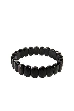 Saff Doğal Taş Unisex Siyah Doğal Taş Kare Bileklik 210570