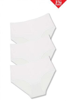 Ten Geniş Kenarlı 3'lü Slip / Beyaz
