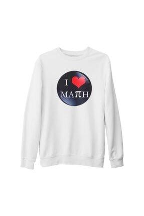 Lord Unisex Beyaz Matematik Pi 17 Kalın Sweatshirt