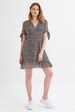Quzu Desenli Kruvaze Kol Detaylı Elbise Bej