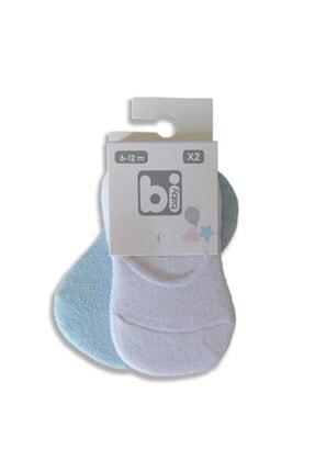Bibaby Unisex Bebek Mavi Pirinç Desenli Babet Çorap 2'li