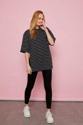 Arma Life Kadın Siyah Çizgili Duble Kol T-shirt