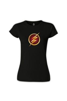 Lord Kadın Siyah Flash Baskılı Tshirt