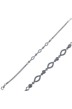 SilverPlus Zirkon Taşlı Rodyumlu Oval Gümüş Bayan Bileklik