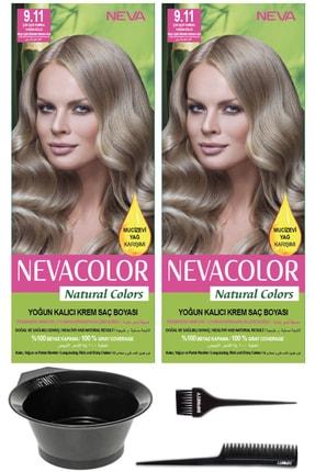 Neva Color 2'li Natural Colors 9.11 Çok Açık Kumral Yoğun Küllü - Kalıcı Krem Saç Boyası Ve Saç Boyama Seti