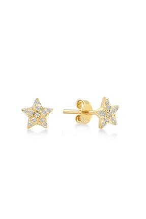 Gelin Pırlanta Kadın 14 Ayar Altın Pırlantalı Yıldız Küpe GLN300103