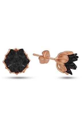 SilverPlus Kadın Siyah Renk Gümüş Lotus Çiçeği Küpe
