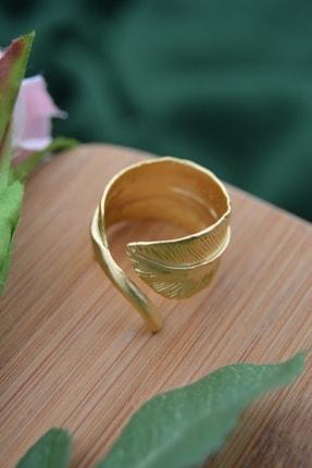 Stoneage Kaliteli Altın Kaplama Yaprak Form Ayarlanabilir Yüzük