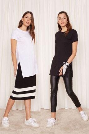 Eka 2'li Paket Bisiklet Yaka Kısa Kol T-shirt (siyah - Beyaz)