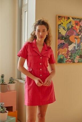 Love My Body Kadın Fusya Önden Düğmeli Kısa Kol Elbise 56354 / Moda Tutkusu