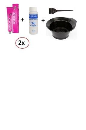 Neva Color Nevacolor Tüp Boya 8.70 Açık Kumral Kakao Kahve- 2 'li+oksidan 2'li+boyama Kabı+fırçası