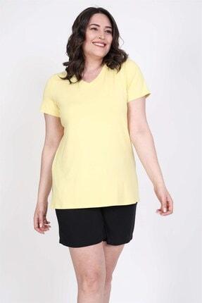 MYLİNE Kadın Sarı V Yaka T-Shirt
