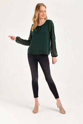 Hanna's Uzun Kollu Şifon Bluz