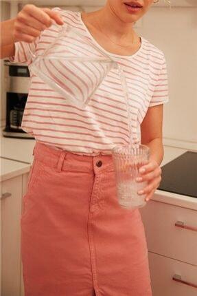 Love My Body Kadın Pembe Açık Yaka Çizgili T-Shirt 56368 / Moda Tutkusu