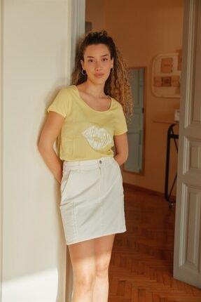 Love My Body Kadın Beyaz Cep Detaylı Etek 56412 / Moda Tutkusu
