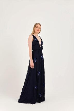 Hanna's Lacivert Kuş Nakışlı Uzun Astarlı Tül Elbise