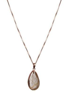 Saff Doğal Taş Rutil Kuvars Taşı Gümüş Zincirli Doğal Taş Kolye 210472