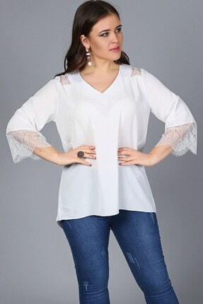 Womenice Kadın Beyaz Omuz Kolucu Dantel V Yaka Bluz