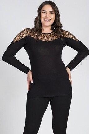 Womenice Kadın Siyah Leopar Dantelli Bluz