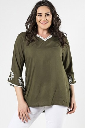 Womenice Kadın Haki Büyük Beden Volan Kol Yaka Dantel İşlemeli Bluz