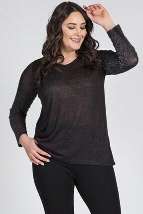 Womenice Kadın Siyah Kolları Desenli Bluz