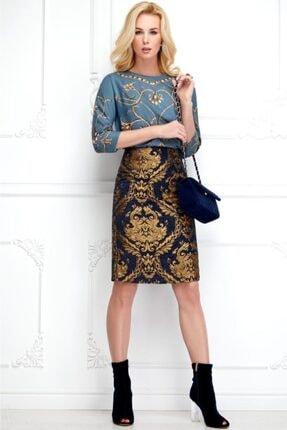 Faberlic Kadın Lacivert Brokar Etek