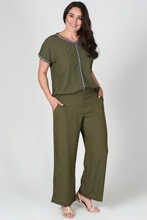Womenice Kadın Haki Büyük Beden Geniş Paça Beli Lastikli Pantolon