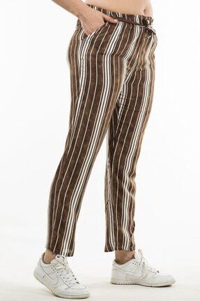 Womenice Kadın Kahverengi Beli Lastikli Çizgili Pantolon