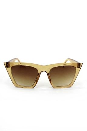 Hane14 Designer Cat Eye Köşeli Bayan Güneş Gözlüğü Kahverengi Degrade Camlı Açık Kahverengi