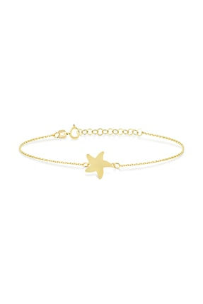 Gelin Pırlanta 14 Ayar Altın Deniz Yıldızı Bileklik