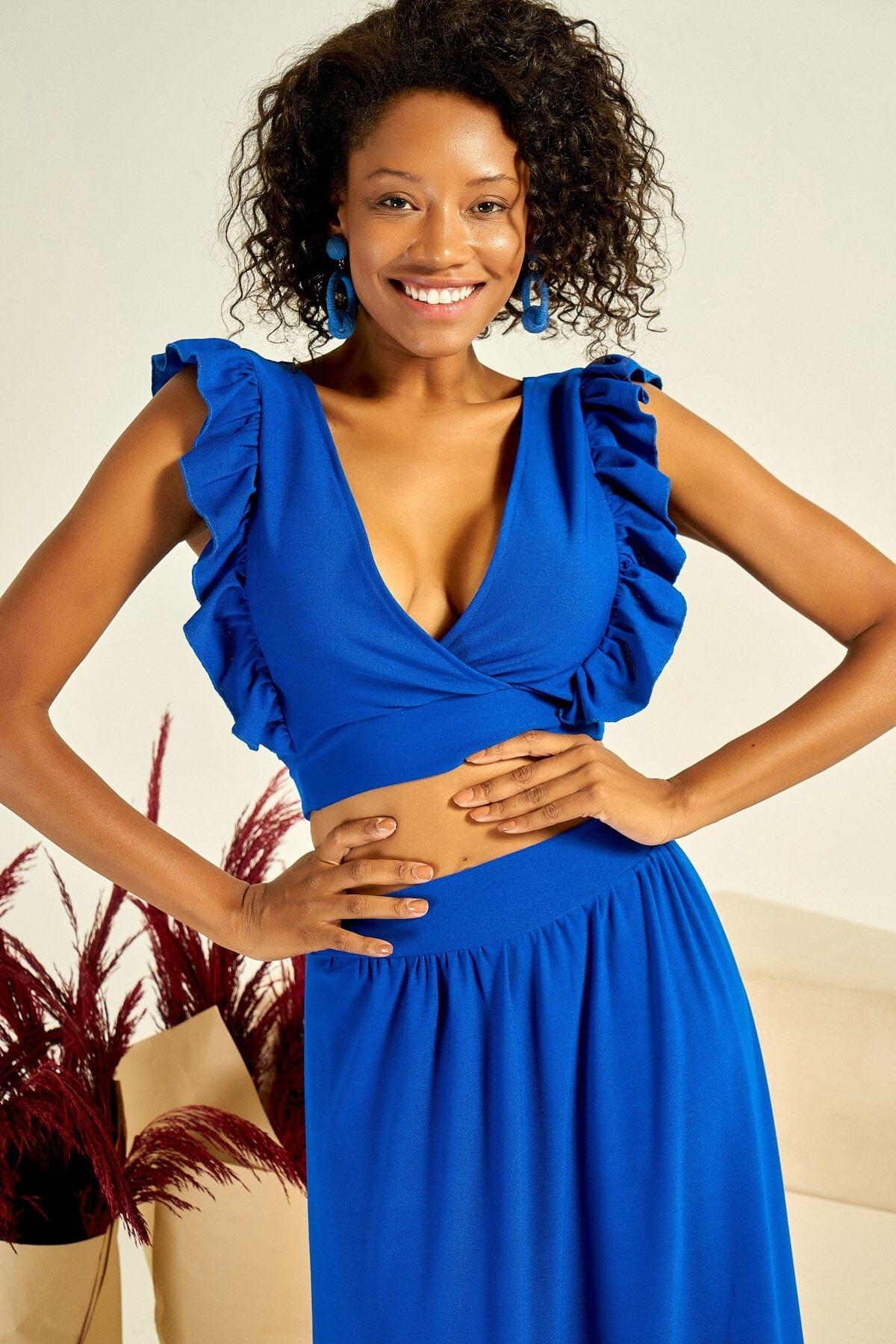 Boutiquen Kadın Saks Mavisi Altı Bağlamalı V Yaka Volanlı Bluz 4001B