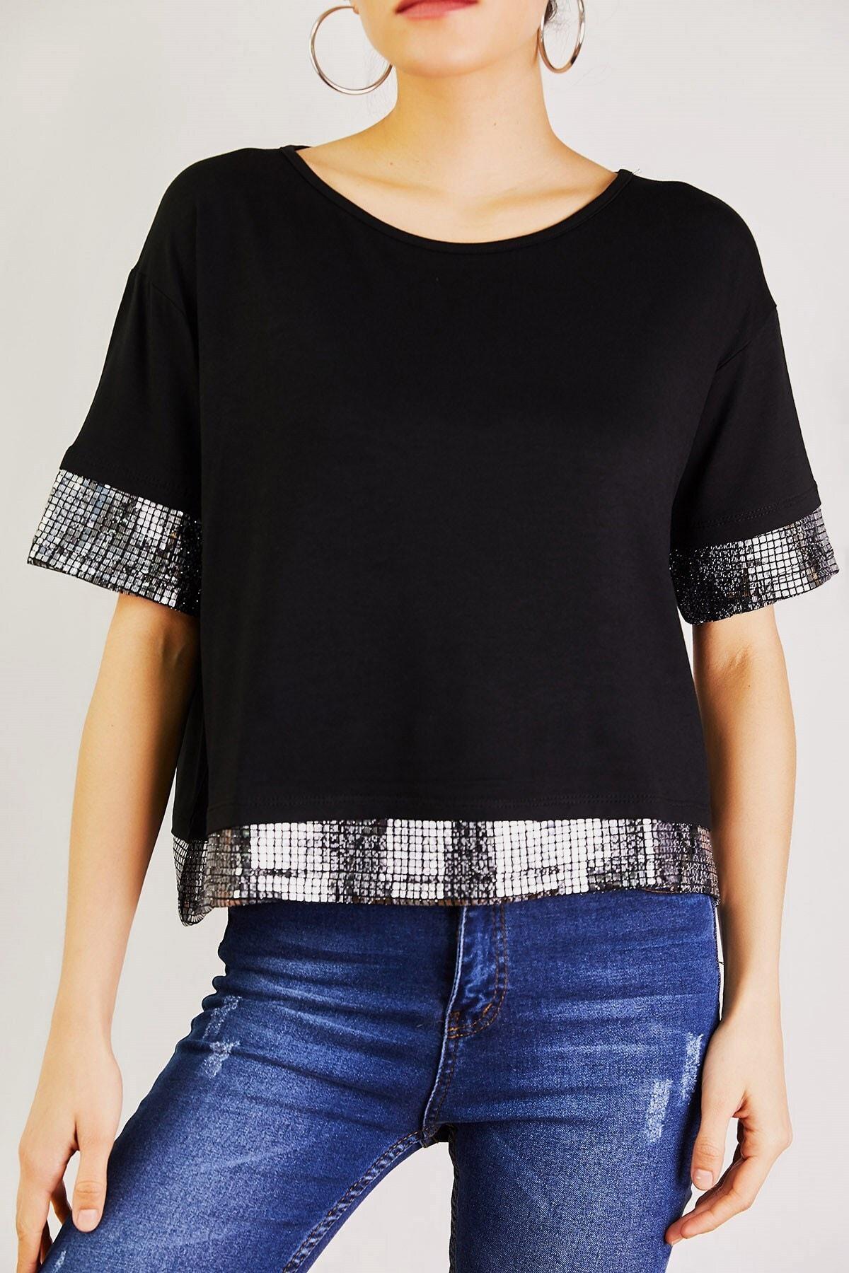 Boutiquen Kadın Siyah Kolu Ve Eteği Payetli Bluz 1227