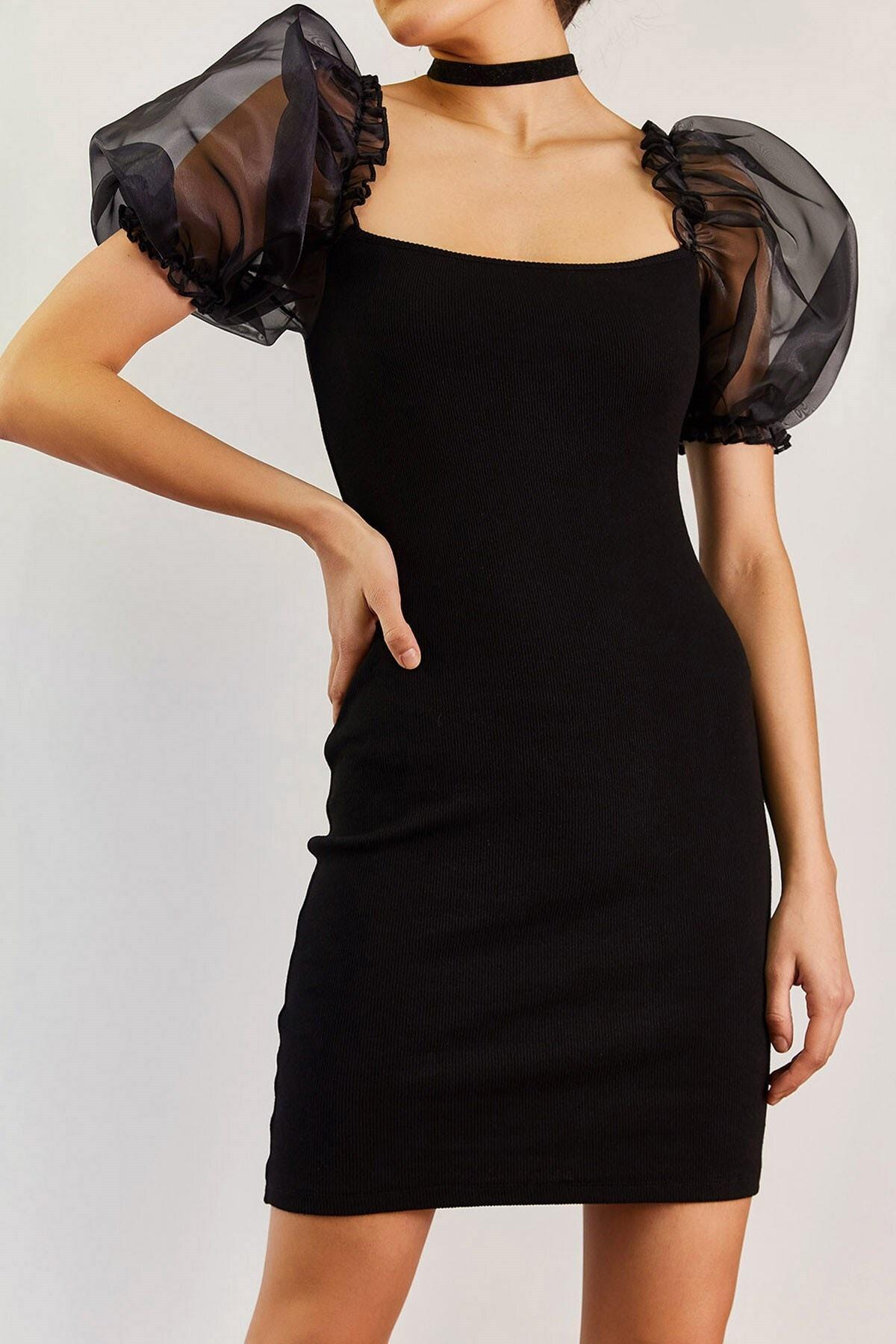 Boutiquen Kadın Siyah Organze Kısa Kollu Elbise 2210
