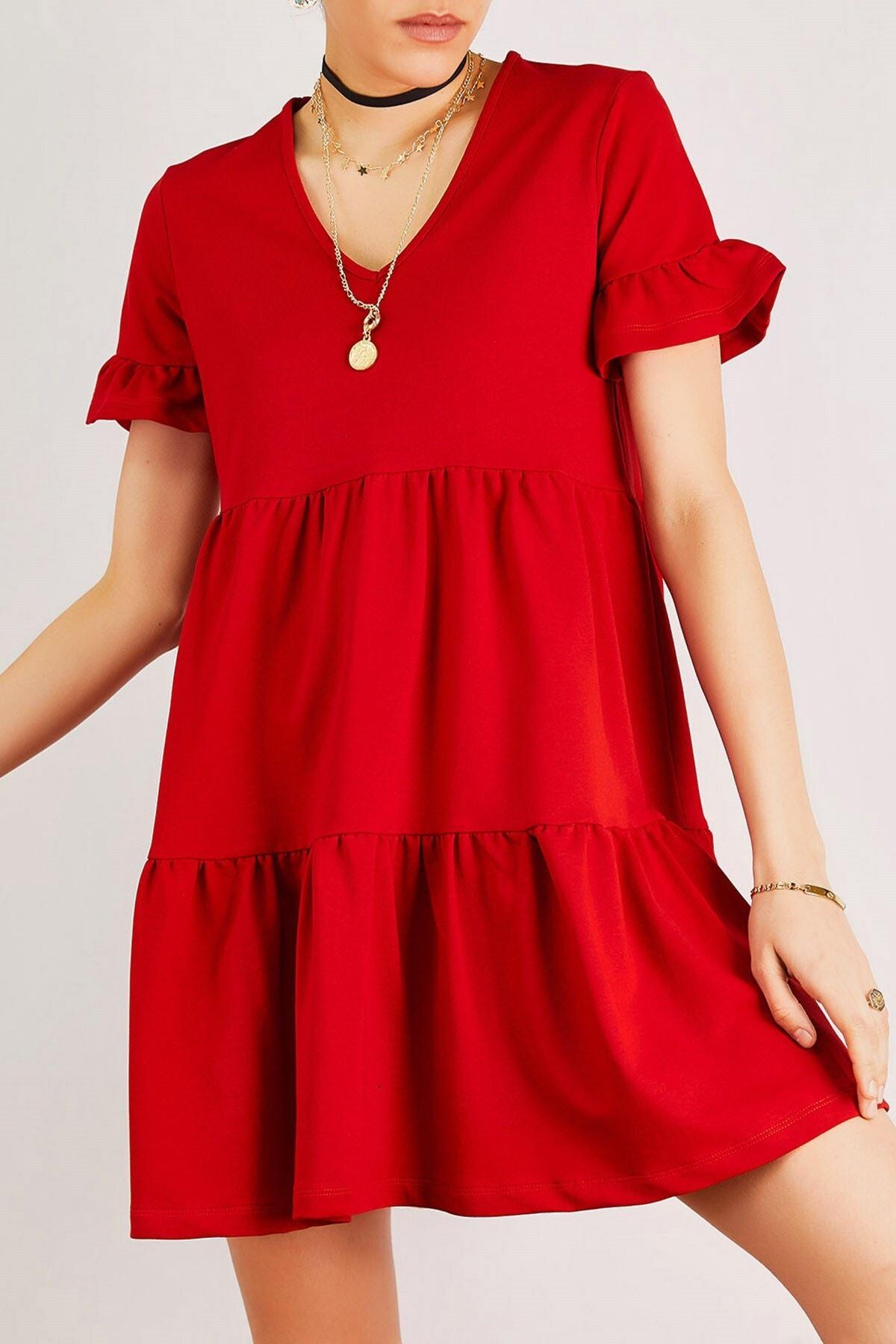 Boutiquen Kadın Kırmızı V Yaka Volanlı Elbise 12214