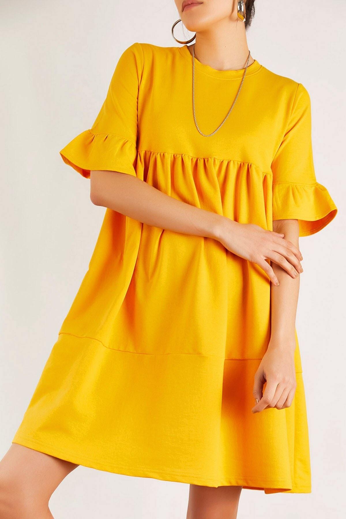 Boutiquen Kadın Hardal Kısa Kollu Volanlı Elbise 2221