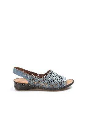 Fast Step Hakiki Deri Kot Mavi Kadın Klasik Sandalet 046za24