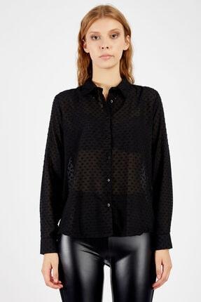 Manche Kadın Siyah Gömlek