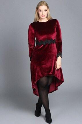 Womenice Kadın Bordo Büyük Beden Güpürlü Kadife Elbise