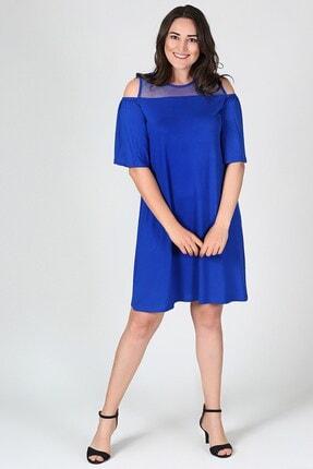 Womenice Kadın Mavi Büyük Beden Elbise