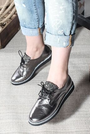 Fast Step Hakiki Deri Çelik Kristal Kadın Casual Ayakkabı
