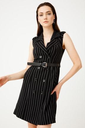 Ekol Kruvaze Çizgili Elbise