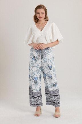 Morpile Kadın Mavi Belikuşaklı Bol Paça Pantolon