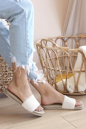 Pembe Potin Kadın Beyaz Suni Deri Sandalet