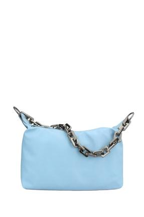 Housebags Kadın Mavi Zincir Detaylı Omuz Çantası