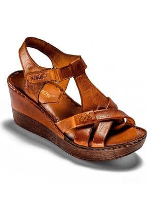 Venüs Kadın Taba Rengi Şerit Detaylı Dolgu Topuk Ayakkabı