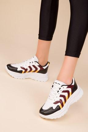 SOHO Siyah-Beyaz-Bordo Kadın Sneaker 15206